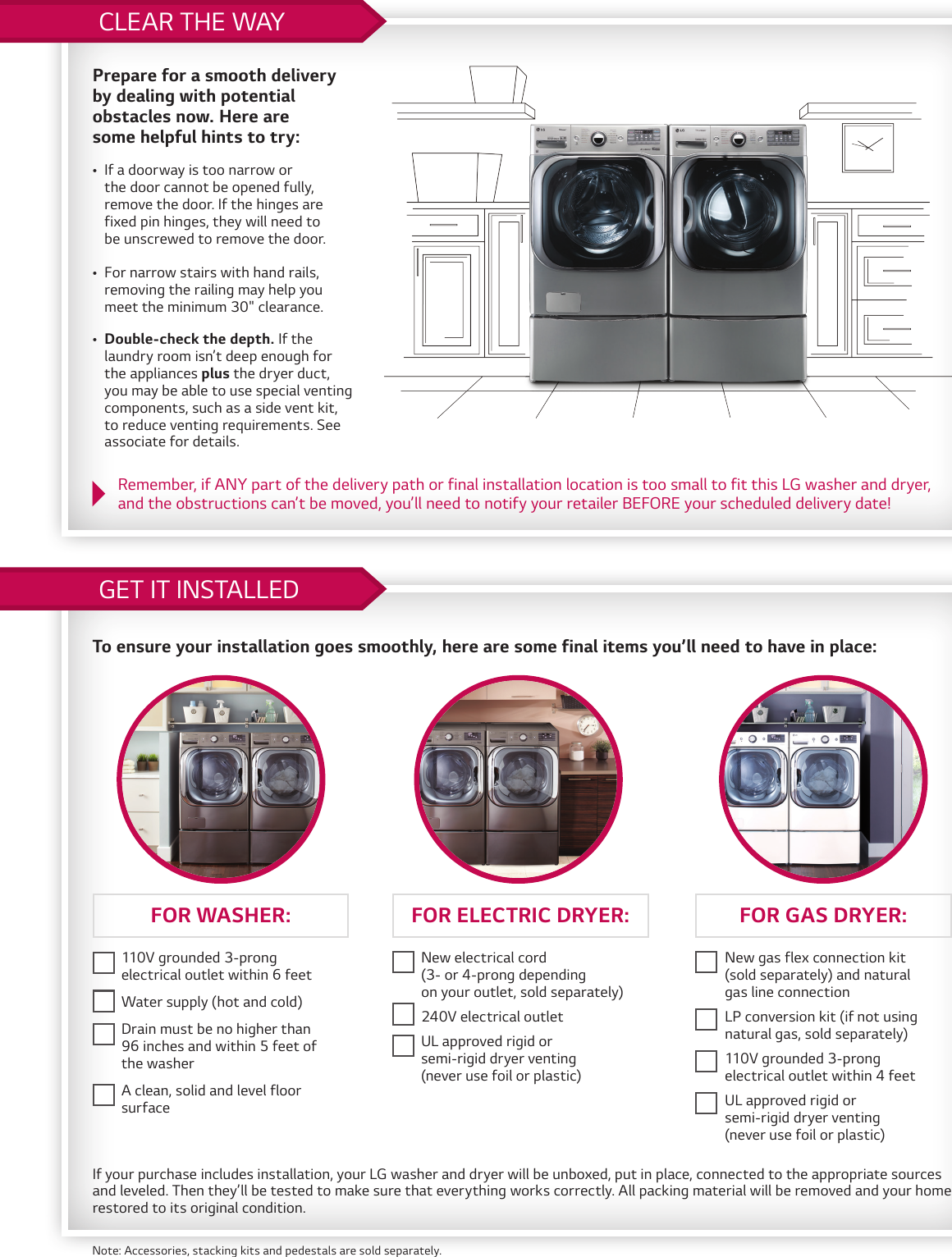 LG WM3050CW User Manual Measure First Laundry Installation