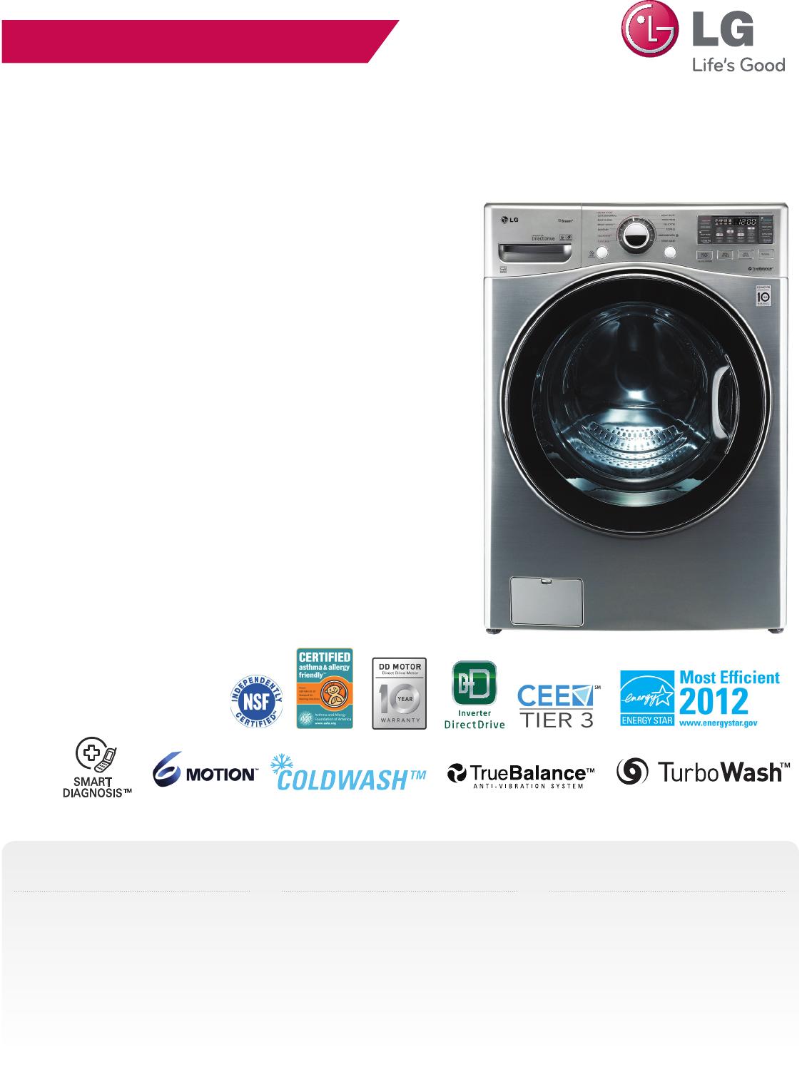 lg wm3470hwa user manual specification wm3470 washer spec sheet rh usermanual wiki LG Washer and Dryer Sets lg washer wm3470hwa manual