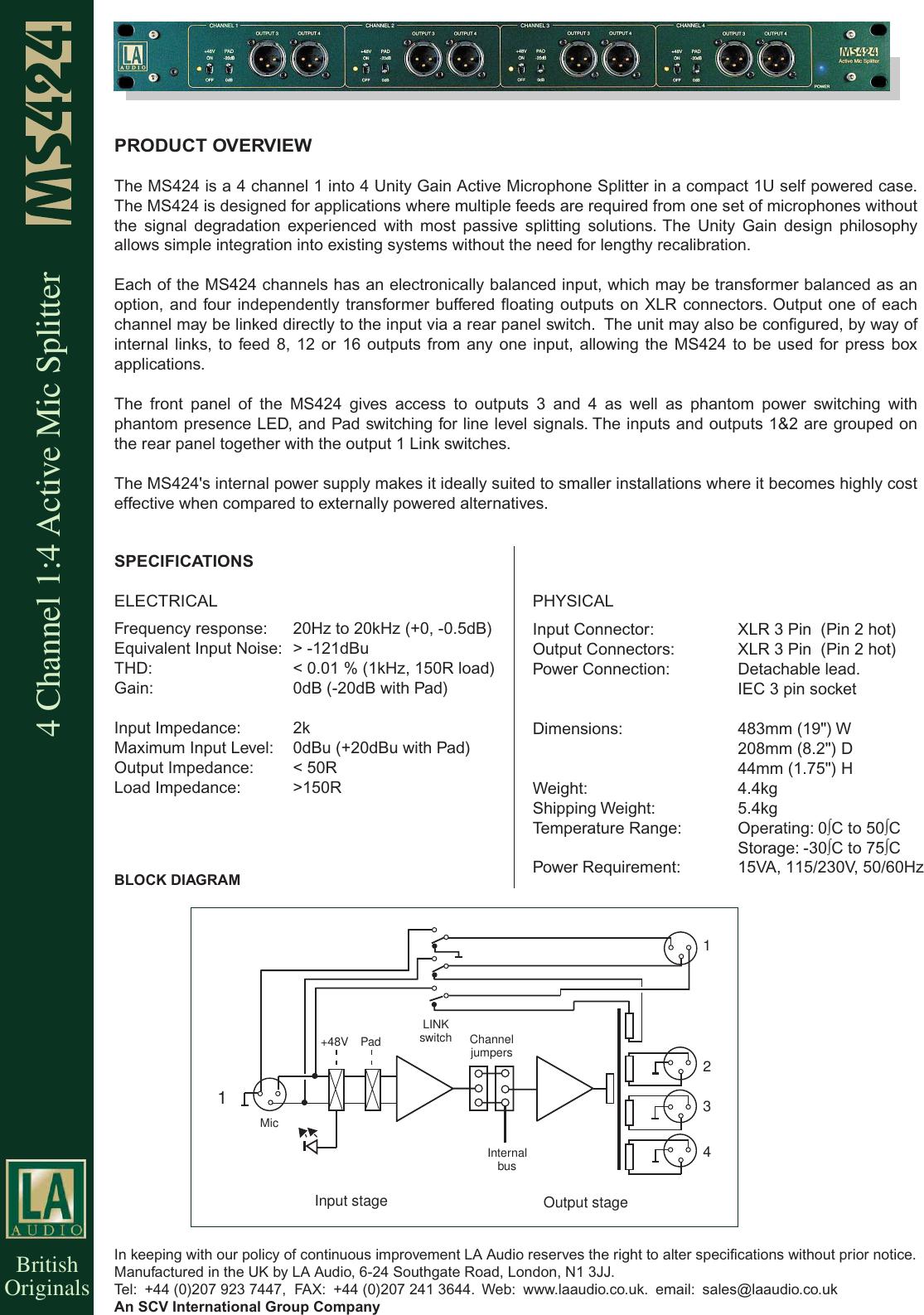 La Audio Electronic Ms424 Users Manual MS424D~1