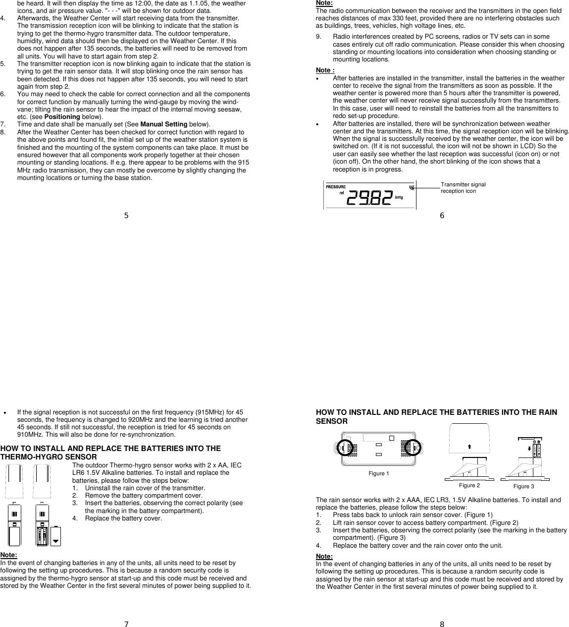La Crosse Technology Tx31U It Users Manual WS 1516_QK_e_Changes