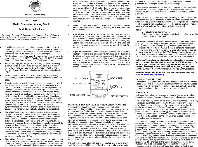 La Crosse Technology Wt 3143H Users Manual
