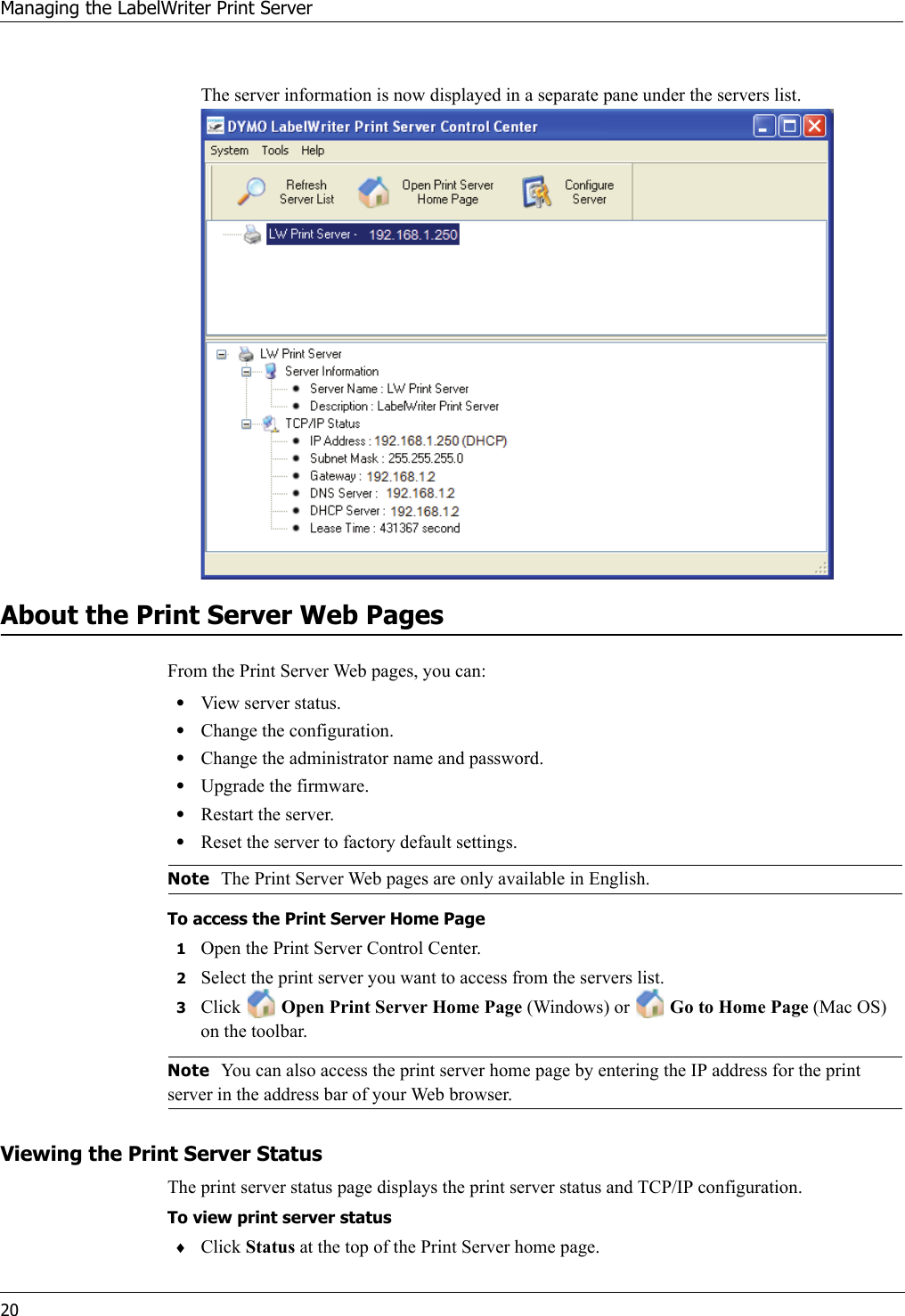 LabelZone Dymo Printserver LabelWriter Print Server User