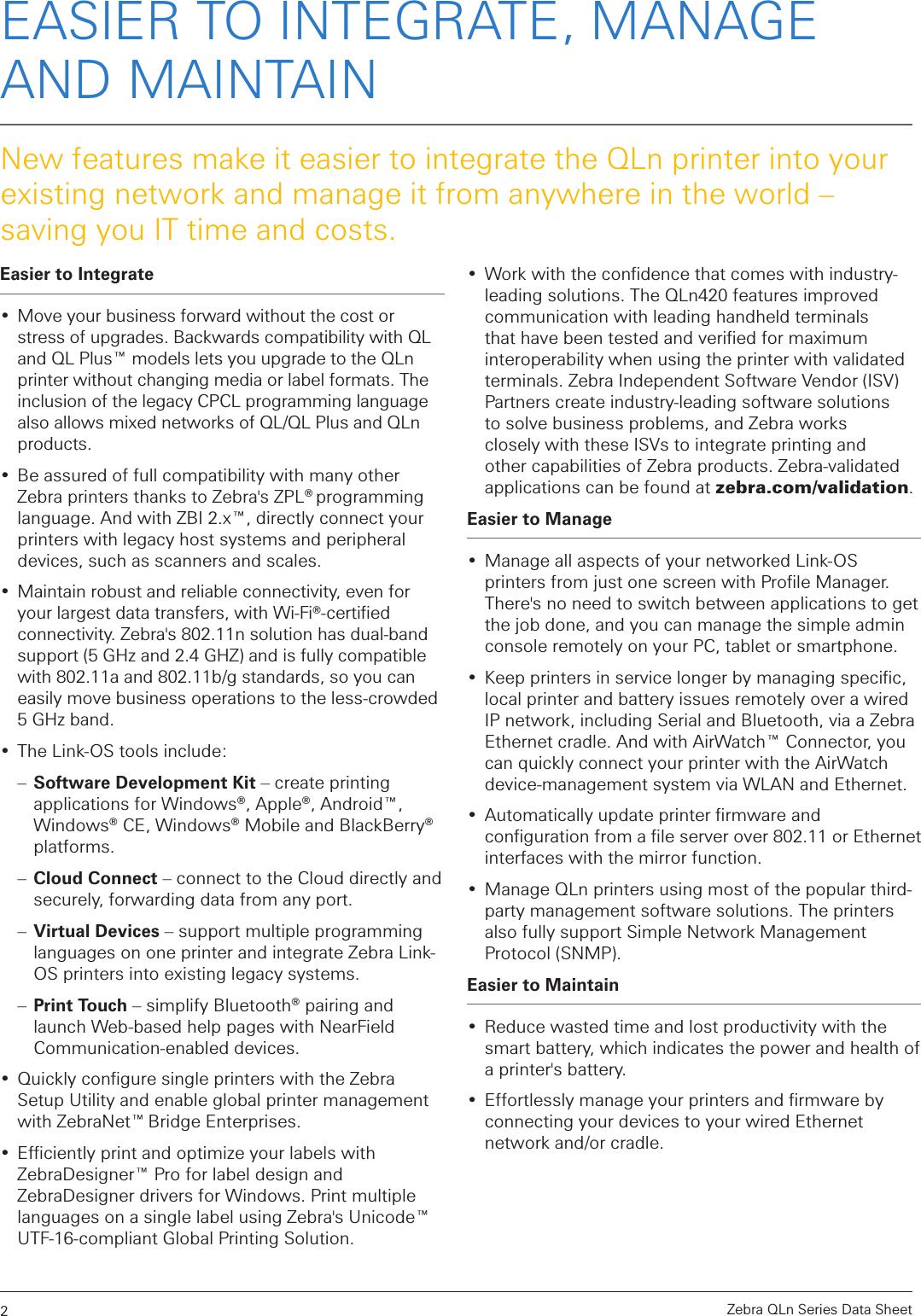 LabelZone Qlnseries Datasheet User Manual