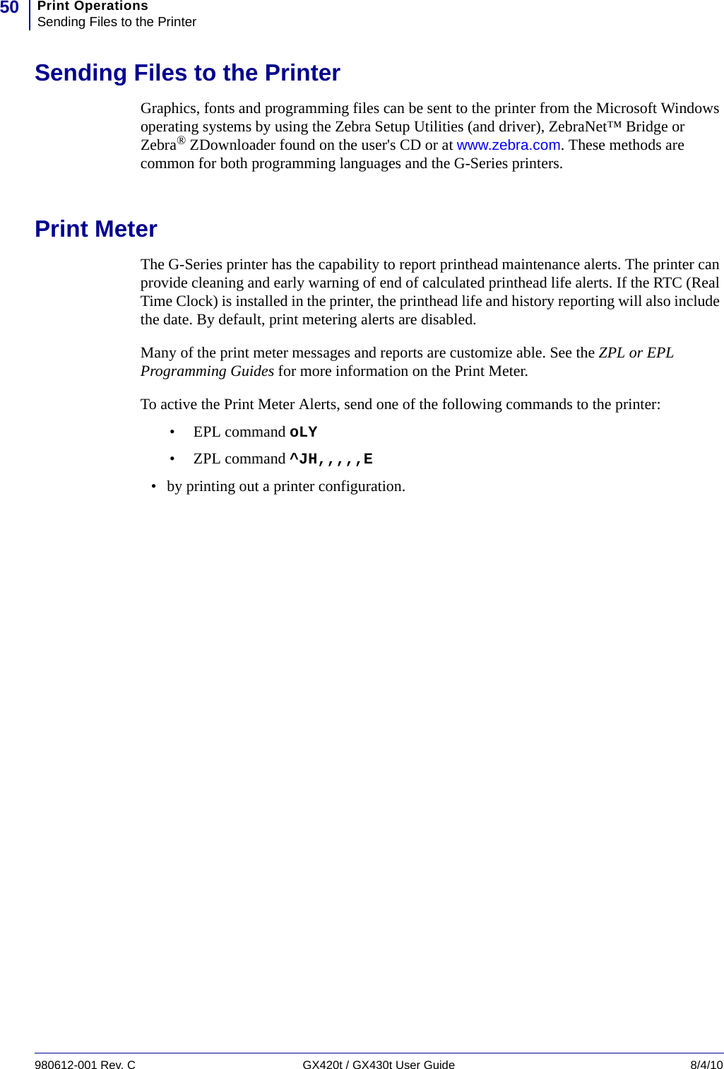 LabelZone Zebra Gx420T Gx430T 980612 001_rC_GX420tUGen User Manual