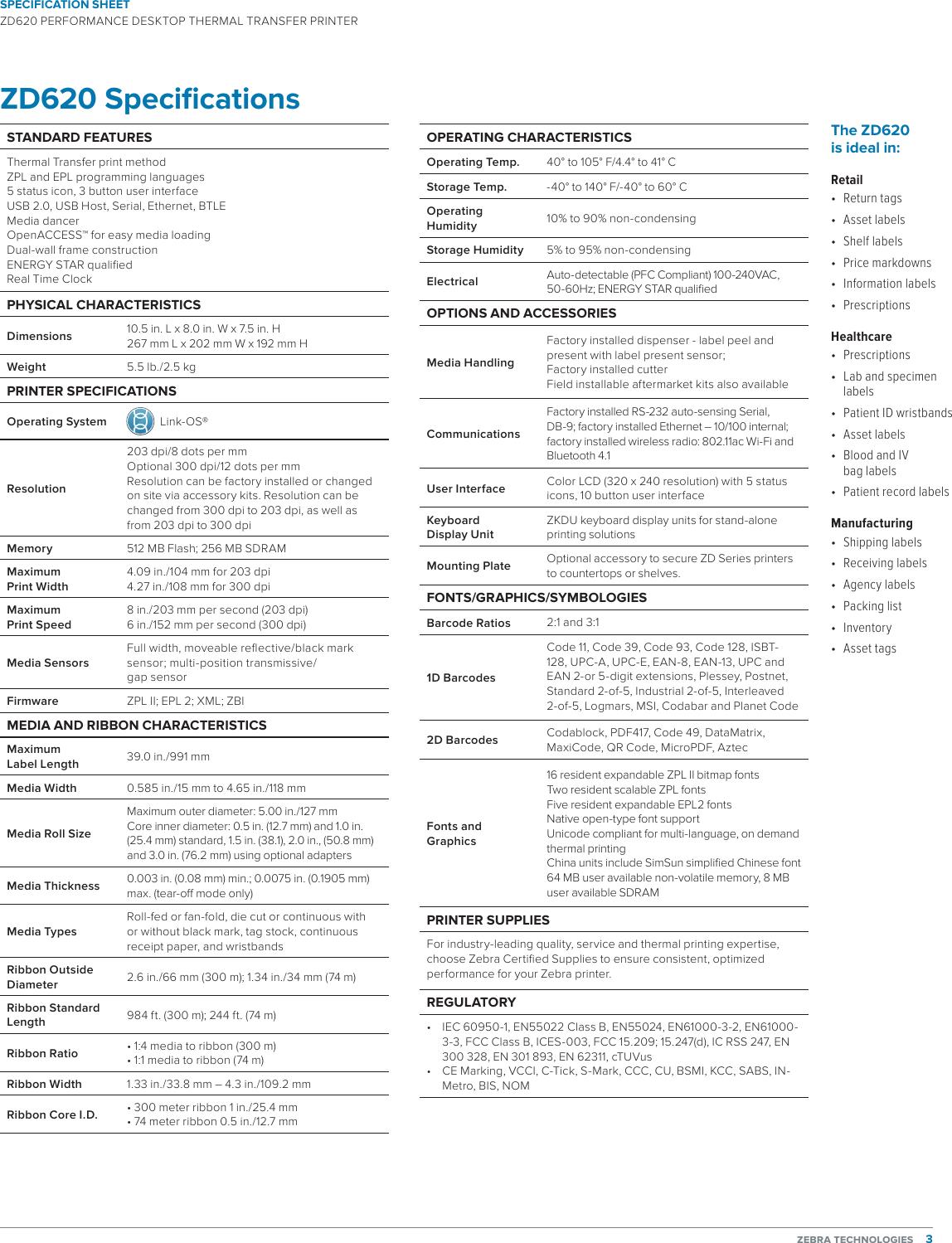 ZD620 Spec Sheet specification en us
