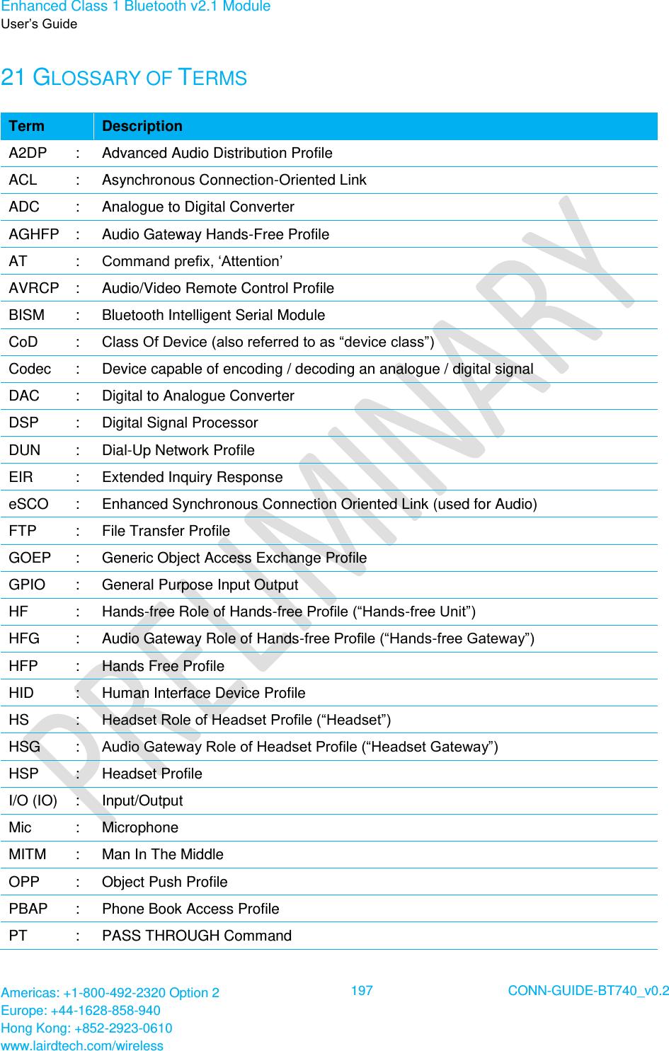 Laird Technologies BT700 Class 1 Bluetooth Data Module User
