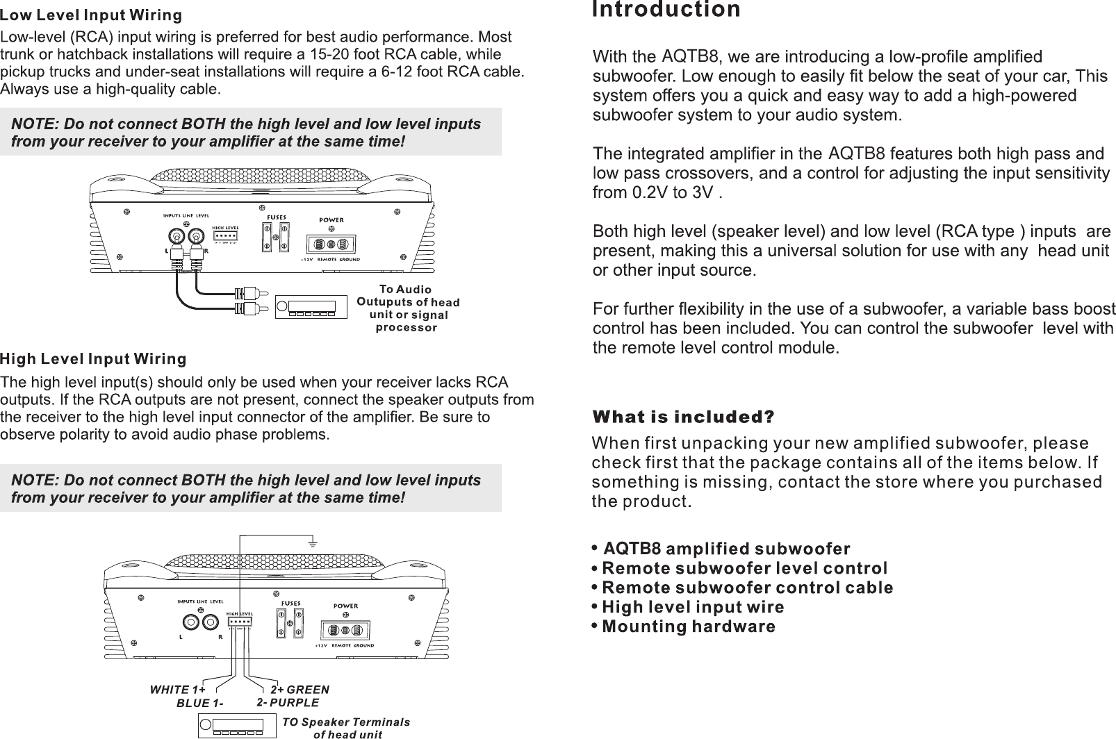 Lanzar Car Audio Aqtb8 Users Manual Speakers Installation Instructions Wiring Diagram Page 3 Of 4