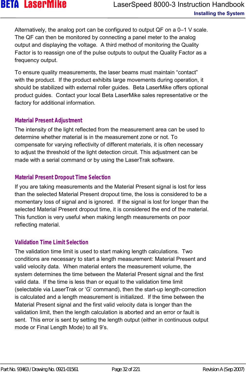 beta lasermike manual