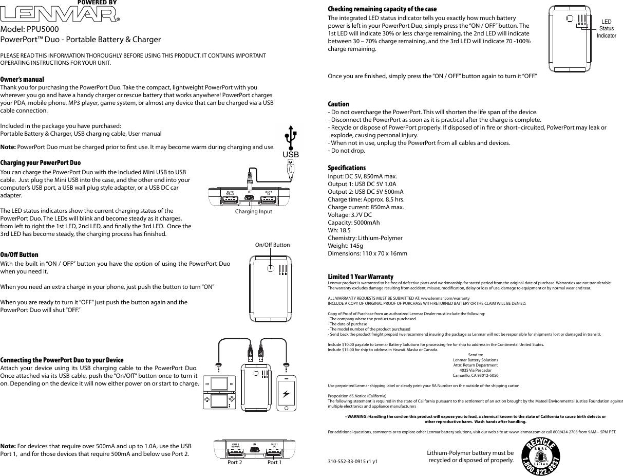 lenmar enterprises powerport duo portable battery and charger rh usermanual wiki Lenmar Wiping Stain Lenmar Camarillo