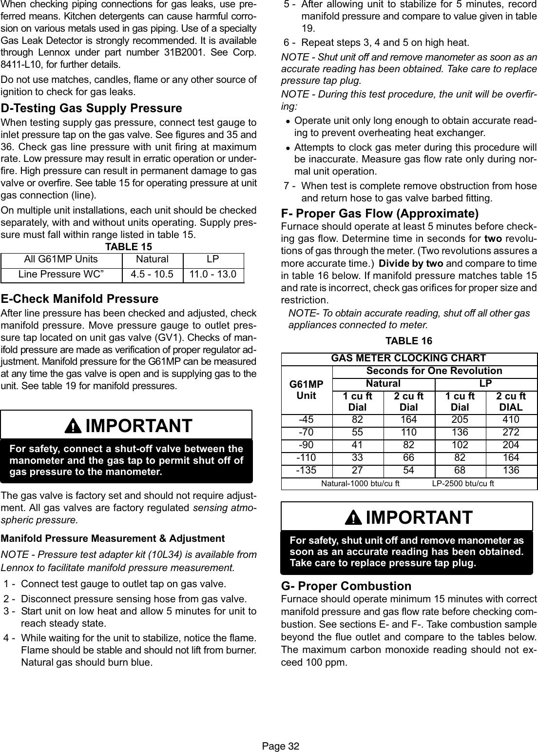 Lennox International Inc Unit G61Mp Users Manual 0308c