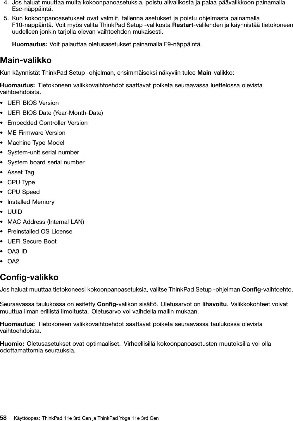 Lenovo 11E Yoga11E Gen3 Ug Fi (Finnish) User Guide ThinkPad (Type