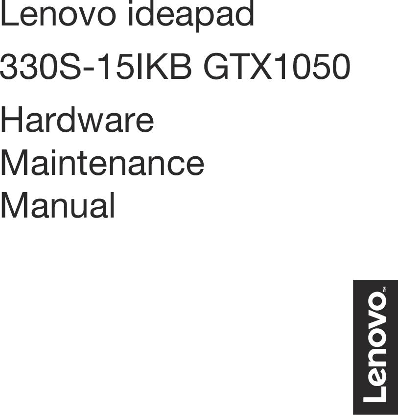 Lenovo Ideapad 330s 15ikb User Manual