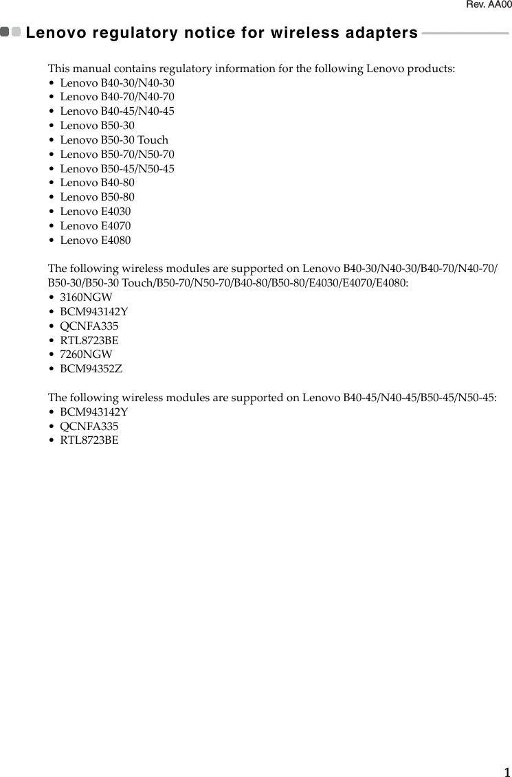 Lenovo B40 B50 Rn Non Eu And Regulatory Notice User Manual
