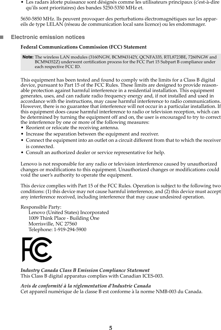 Lenovo B40 B50 Rn Us And Regulatory Notice US&Cananda User