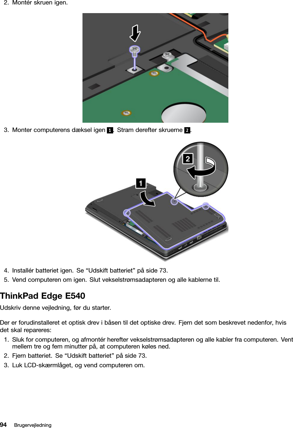 Lenovo E440 E540 Ug Da User Manual (Danish) Guide Think Pad Edge