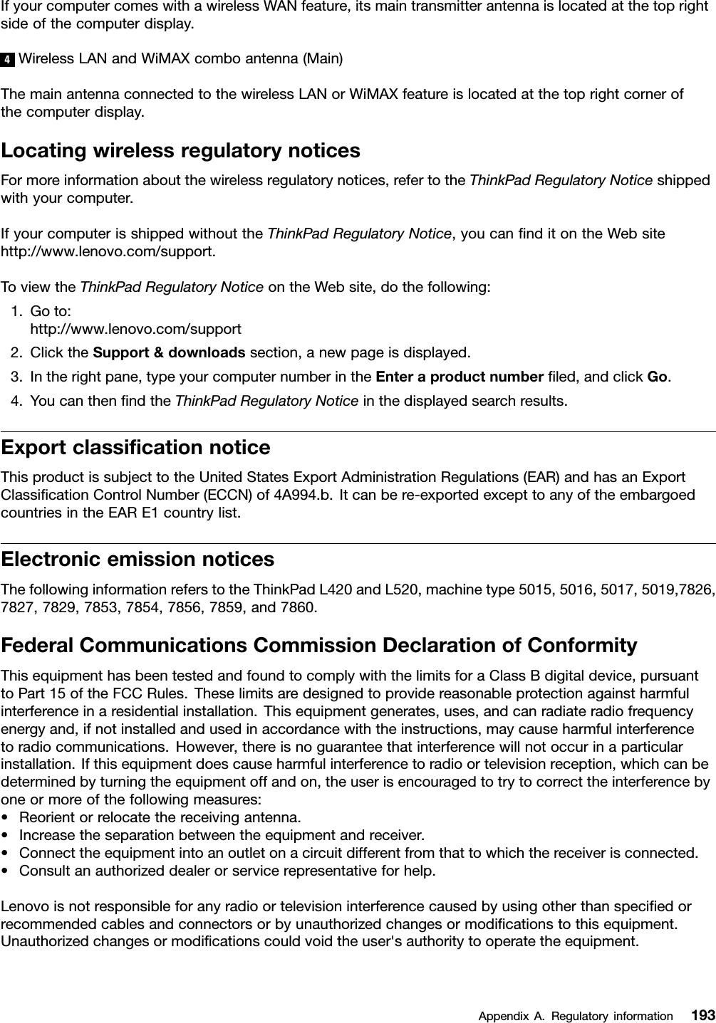 Lenovo L420 L421 L520 Ug En User Manual (English) Guide