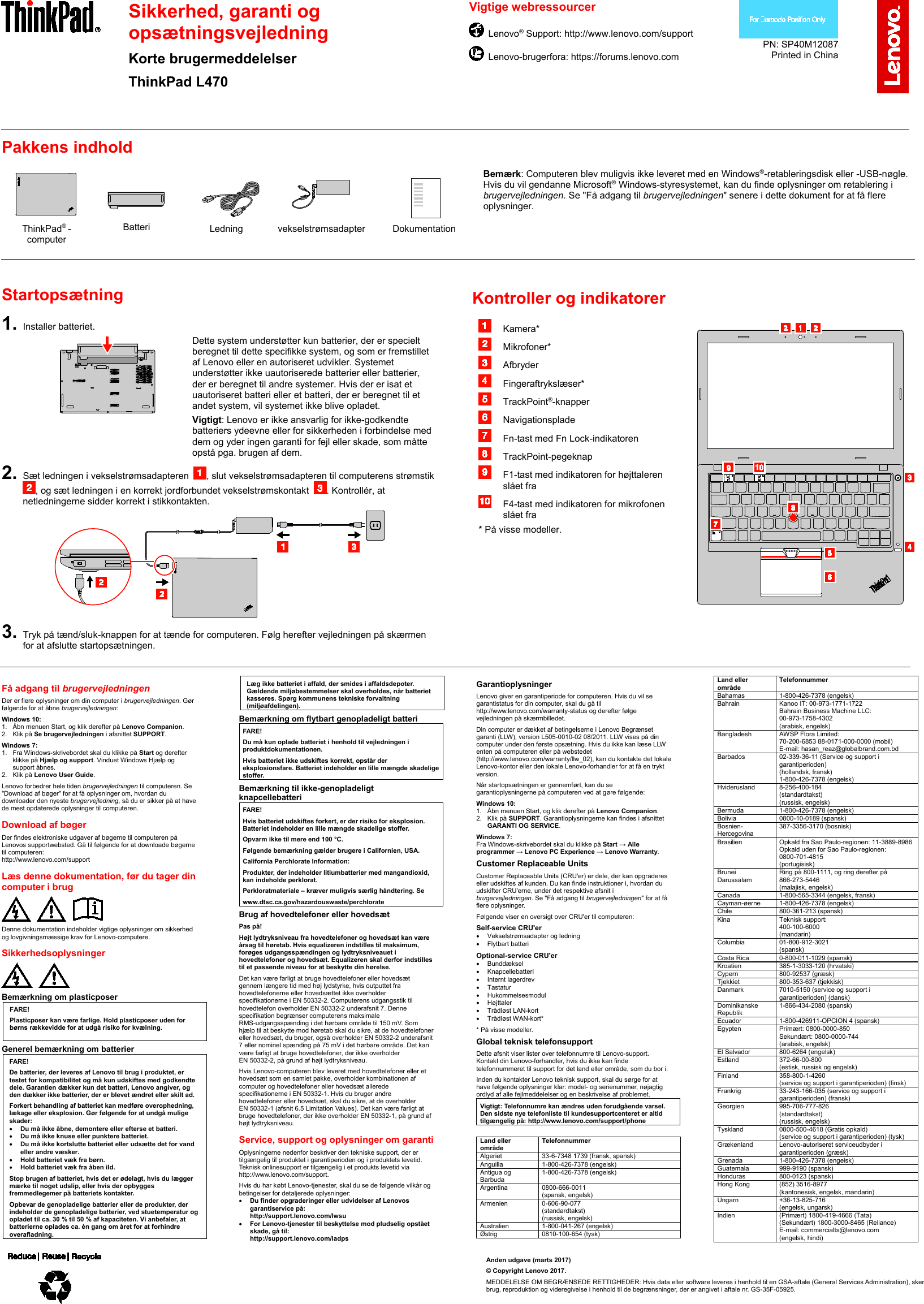 Lenovo L470 Swsg Da Sp40M12087 User Manual (Danish) Safety