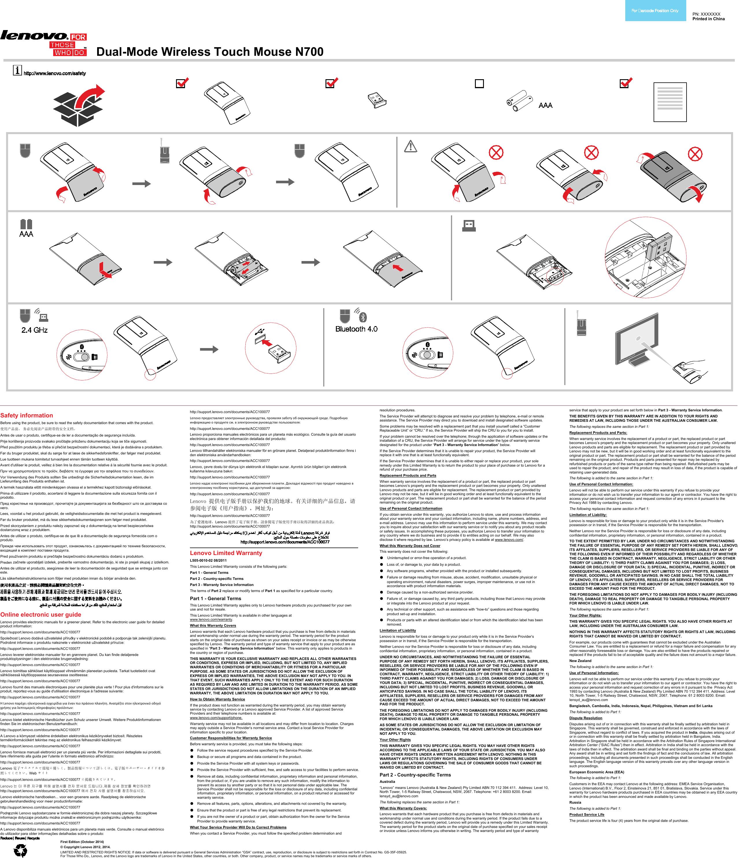 Lenovo Dual Mode Wl Touch Mouse N700 Ug V1 0 Wireless User Manual G50 80 Laptop Lenovo Type