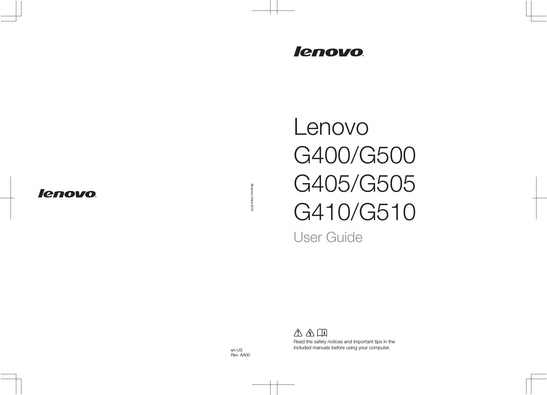 Lenovo G400G500G405G505G410G510 Ug English User Manual Guide G400