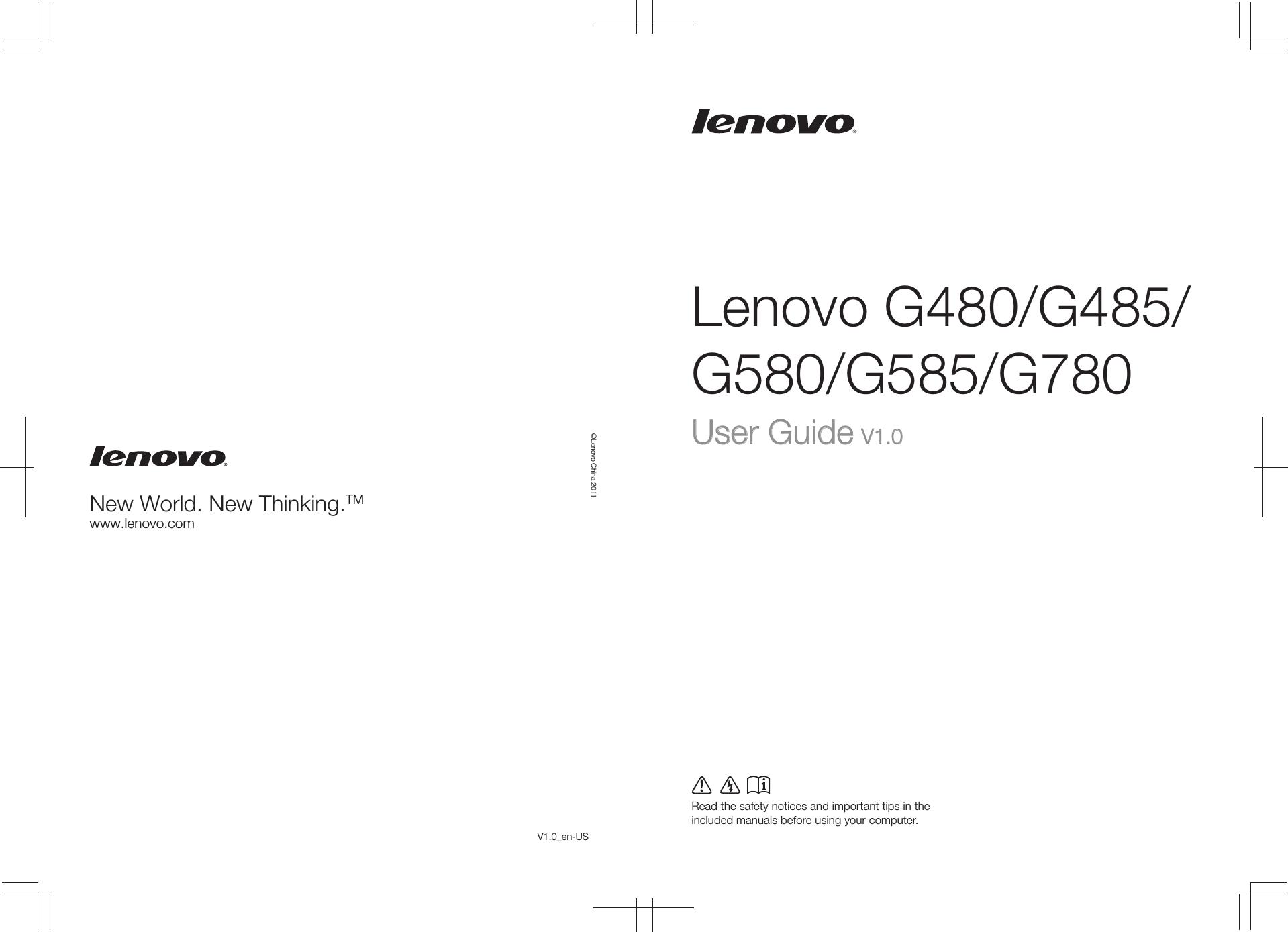 Lenovo G480 G485 G580 G585 G780 Ug V10 English Switch Power Laptop G480g485g580g585g780 User Guide En Manual Type 20149
