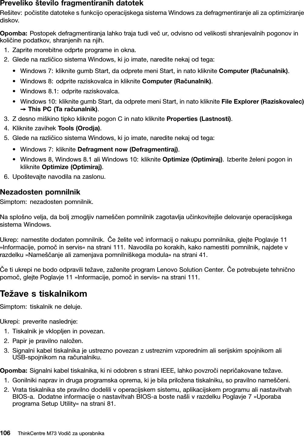 Lenovo M73 Tower Ug Sl User Manual (Slovenian) Guide (Tower
