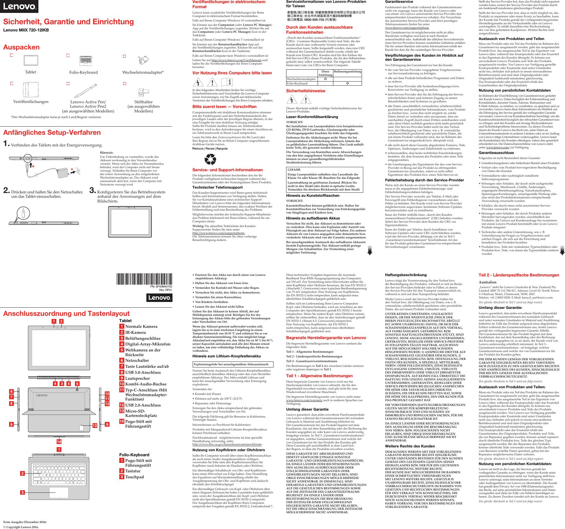 Lenovo Miix720 12Ikb Swsg De 201611 User Manual (German) Safety ...
