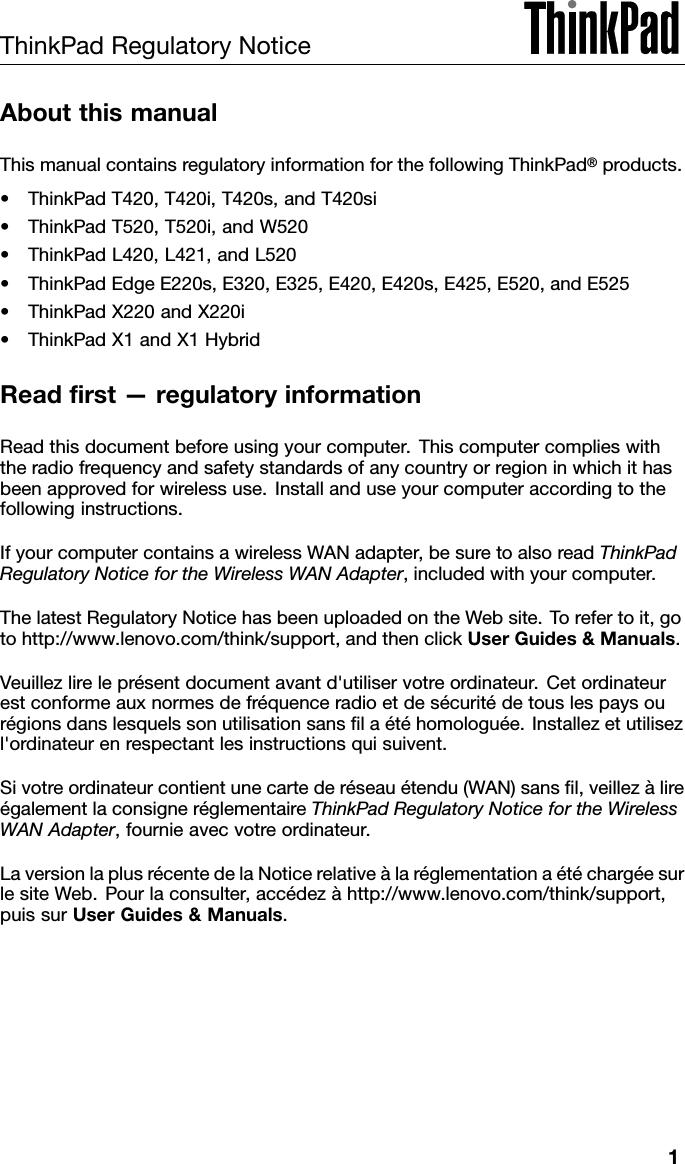 Lenovo T420 Rn Usca 0A60004 08 User Manual Regulatory Notice
