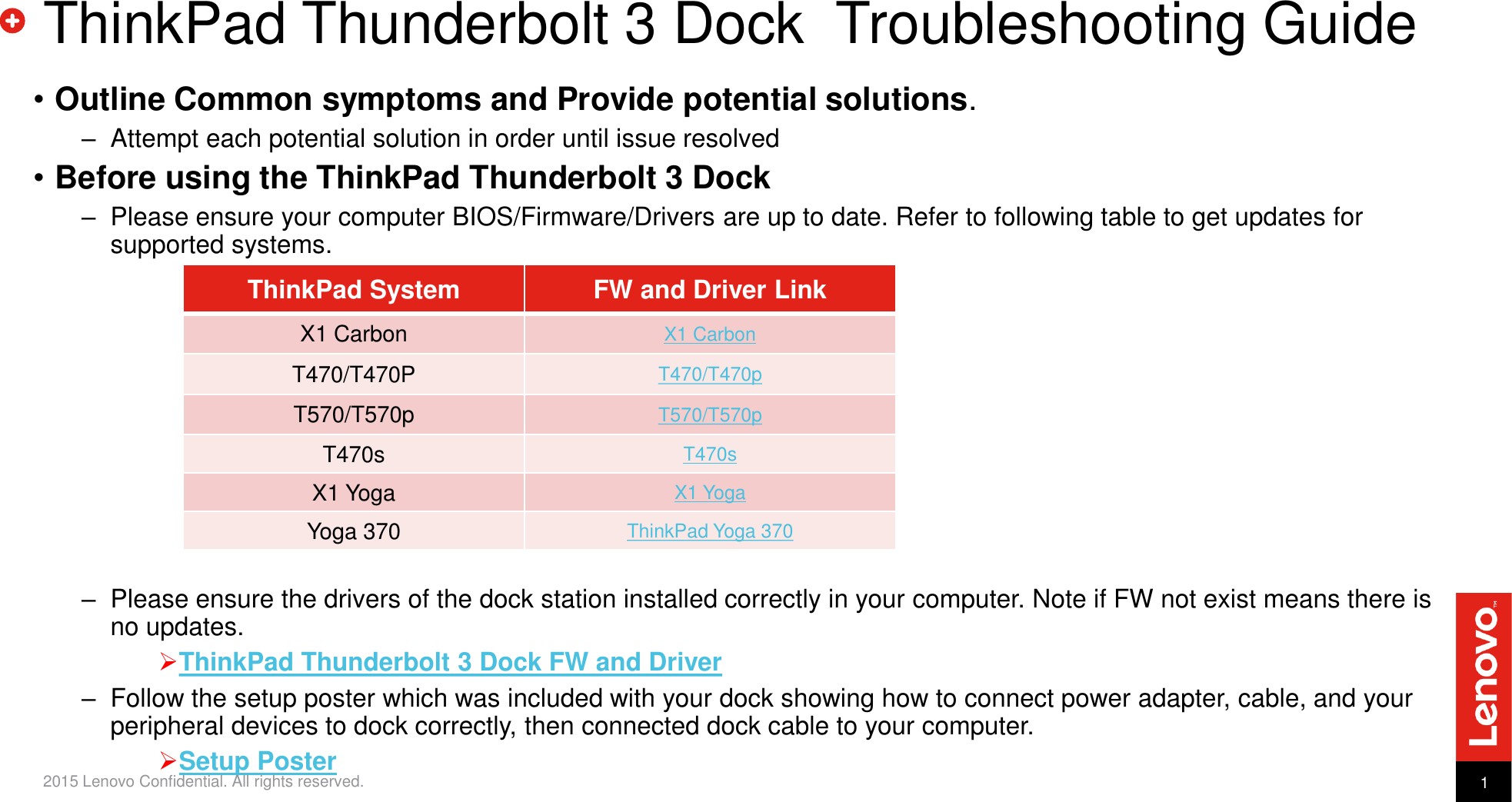 Lenovo Tp Thunderbolt3Dock Troubleshooting Presentation Goes