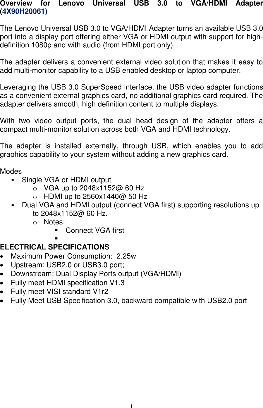 Lenovo Usb3 To Vga Hdmi Adapter 4X90H20061 User Manual X1