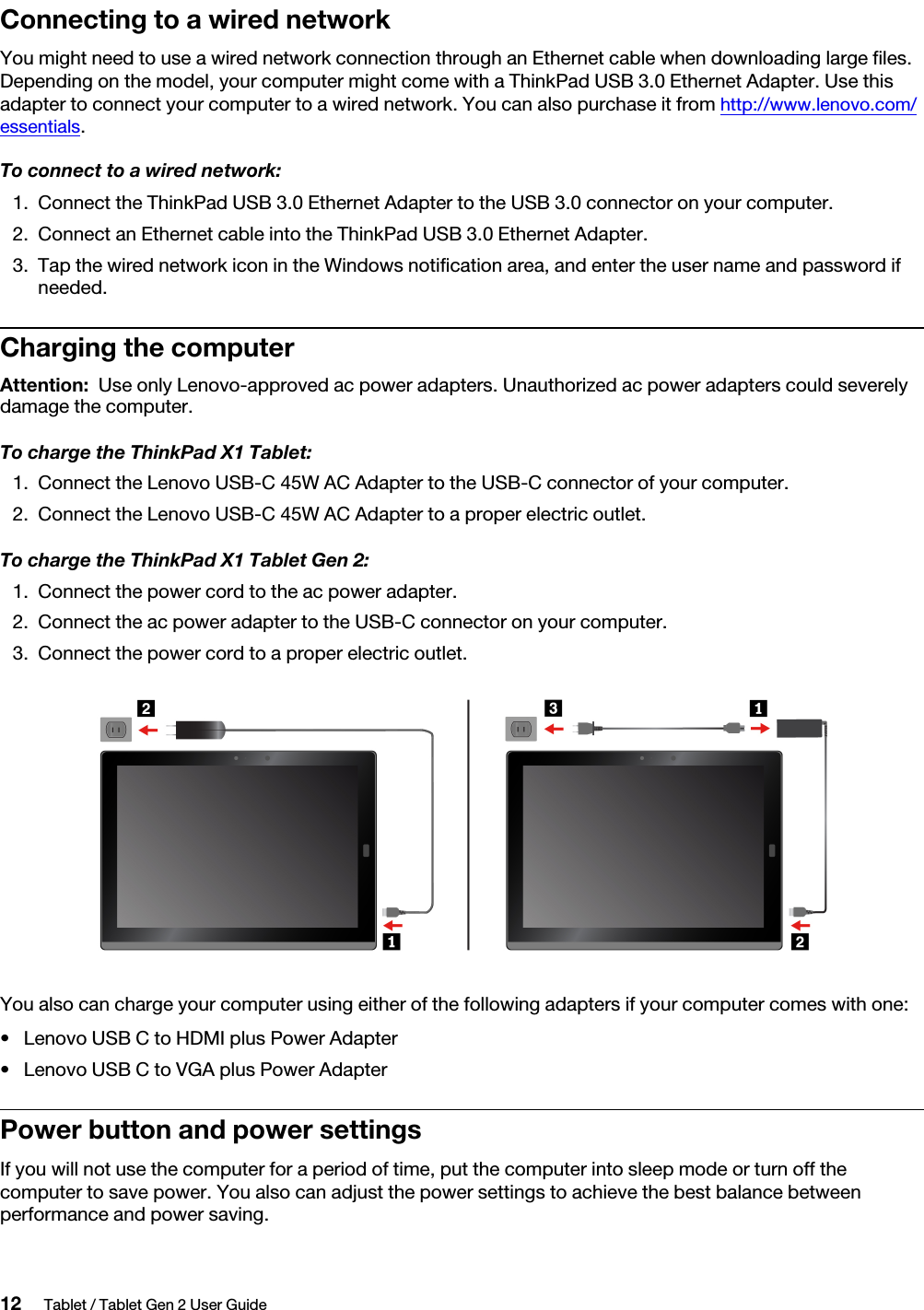 Lenovo X1 Tablet Gen 2 Ug En / User Guide Manual (English