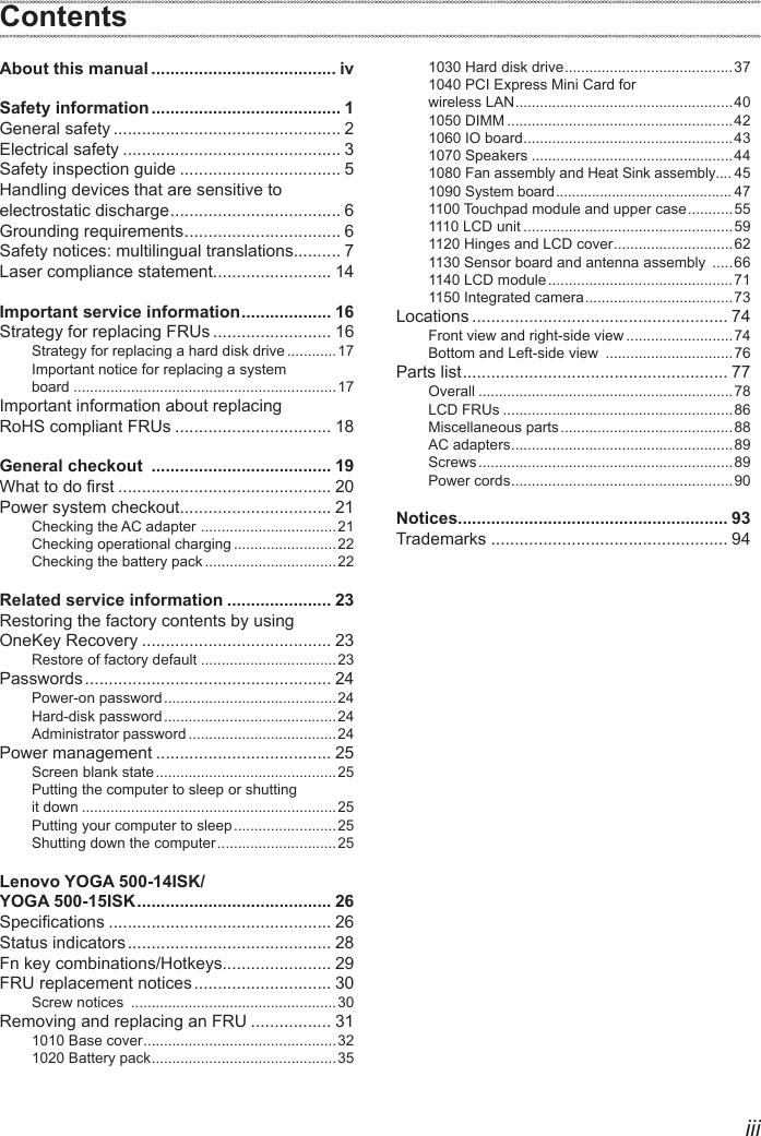 Lenovo Yoga 500 14Isk 15Isk Hmm 201509 ISK User Manual