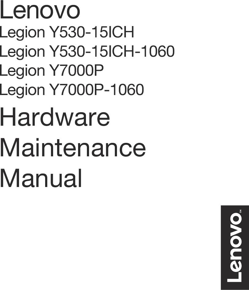 Lenovo Legion Y530 15ICH HMM Hardware Maintenance Manual Laptop