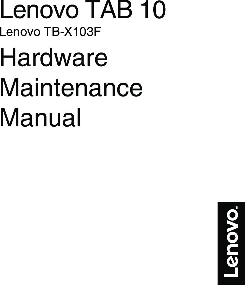 Lenovo TAB 10 HMM_EN (English) Hardware Maintenance Manual (Lenovo