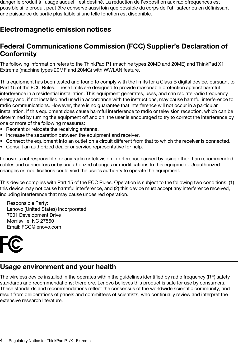 Lenovo Regulatory Notice For ThinkPad P1/X1 Extreme Think