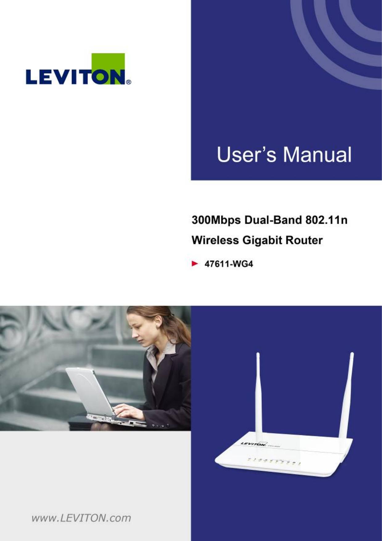 Leviton 47611-WG4 300Mbps Daul Band 802.11n Wireless Gigabit Router ...