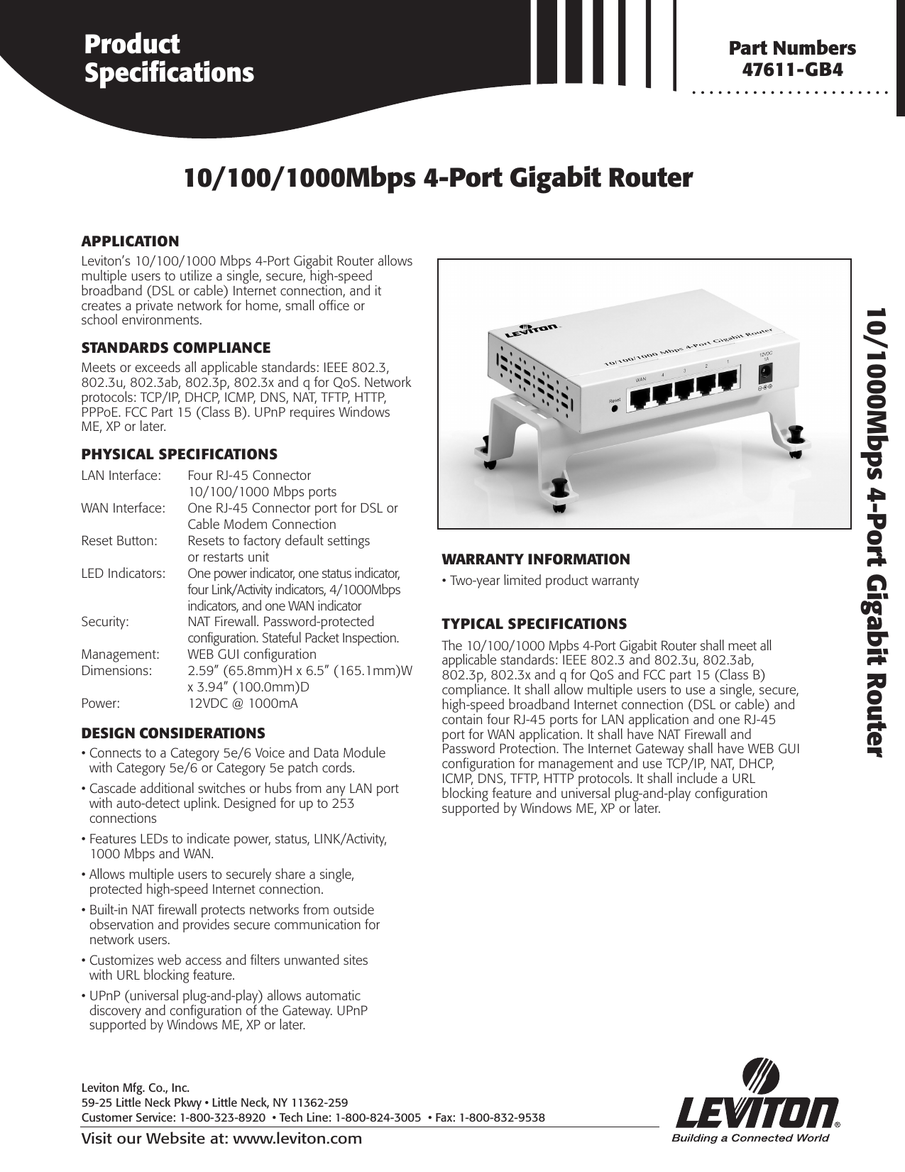 Leviton 4 Port Gigabit Router Users Manual B 1277 Spec Sht