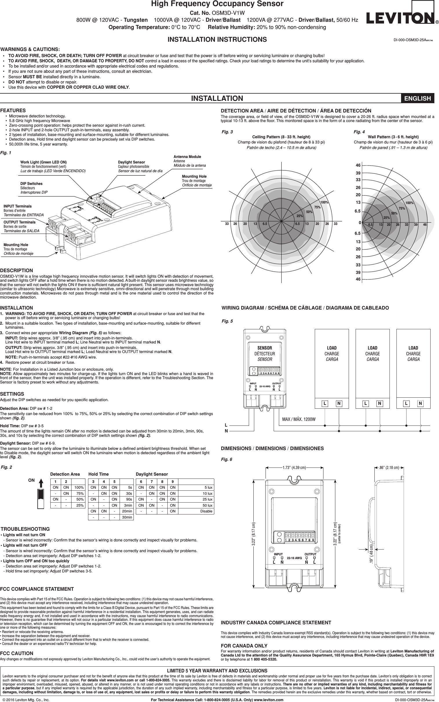 Leviton OSM3D-V1W Lighting control switch User Manual