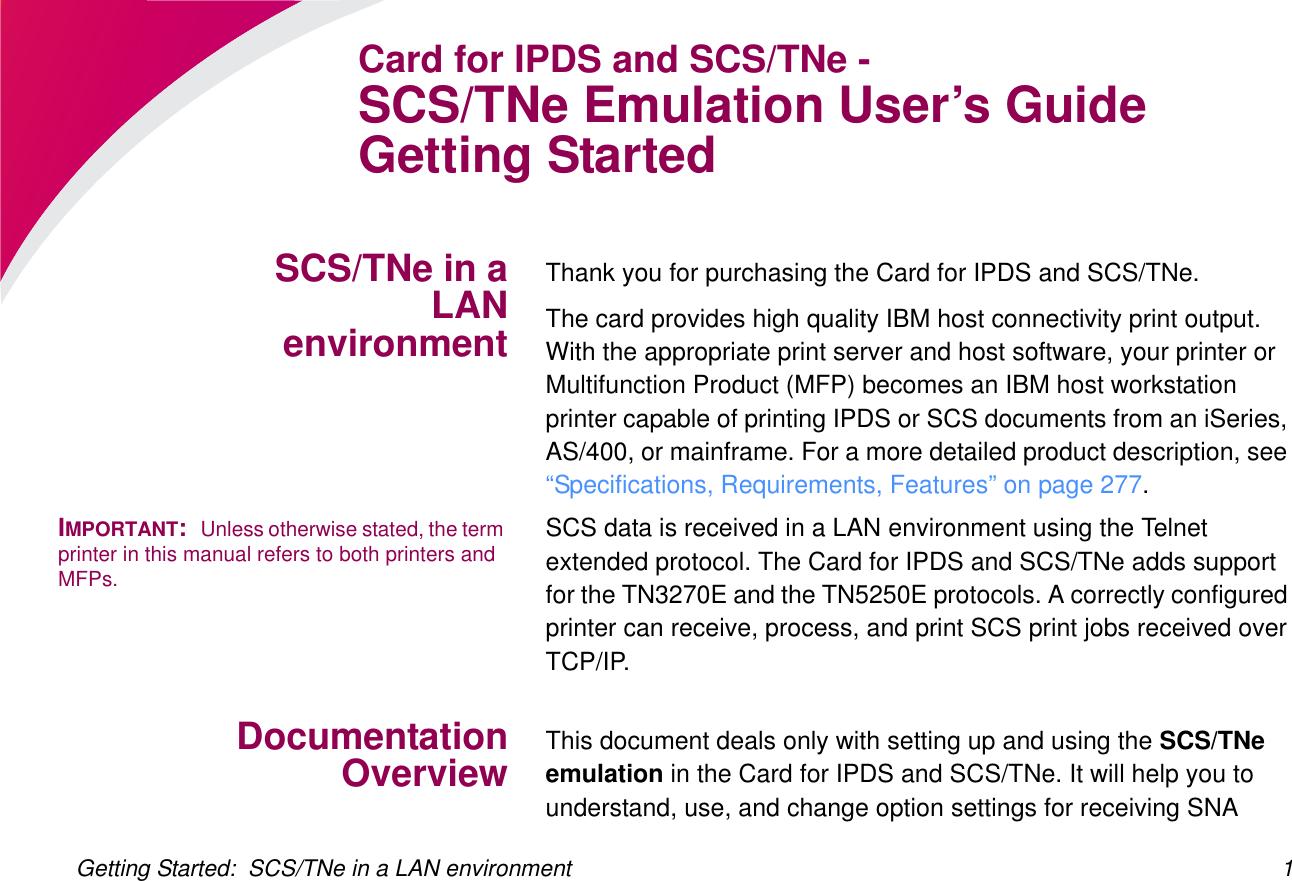 Lexmark Network Card Sctne Users Manual SCS/TNe Emulation
