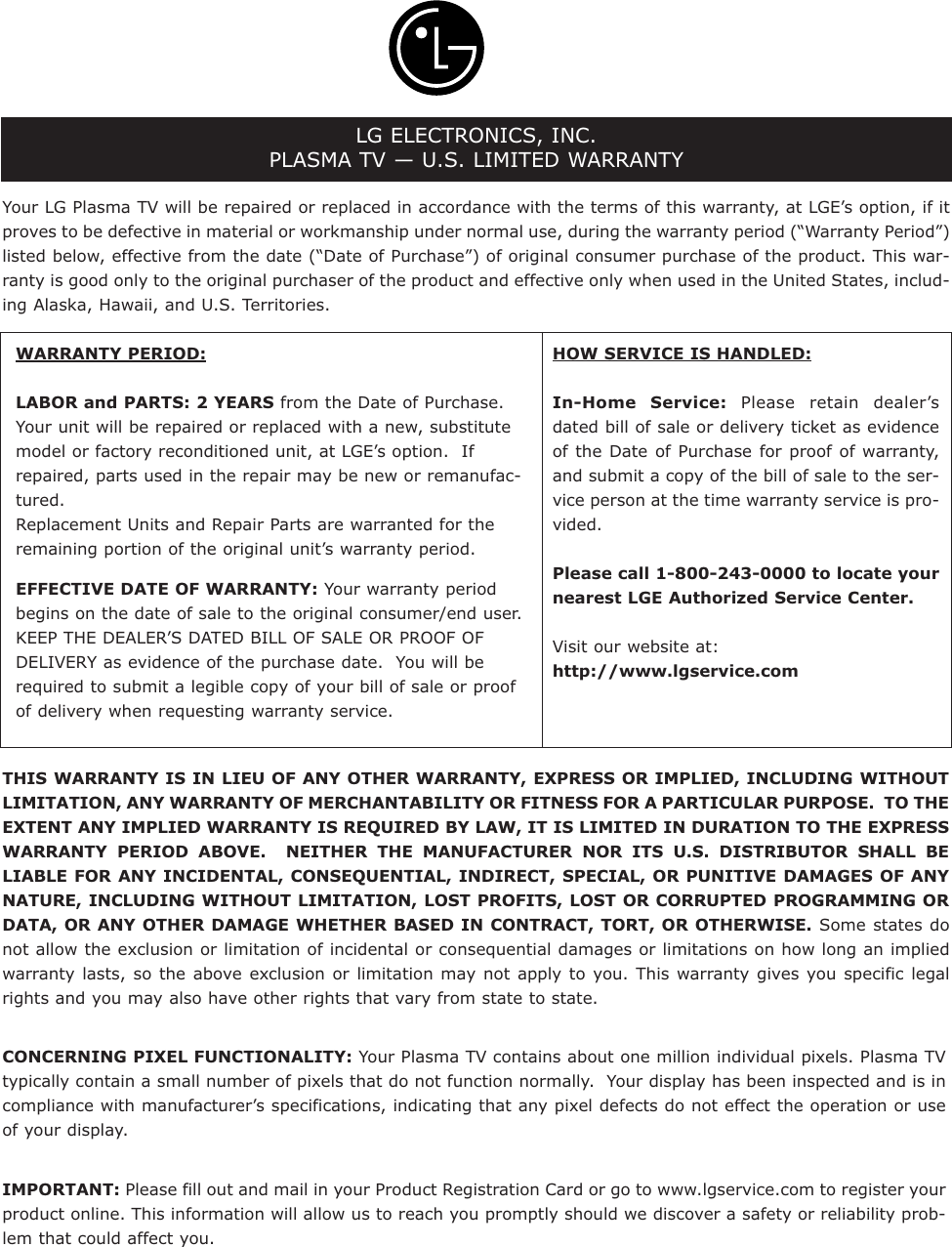 Lg 42Px7Dc Users Manual U558A