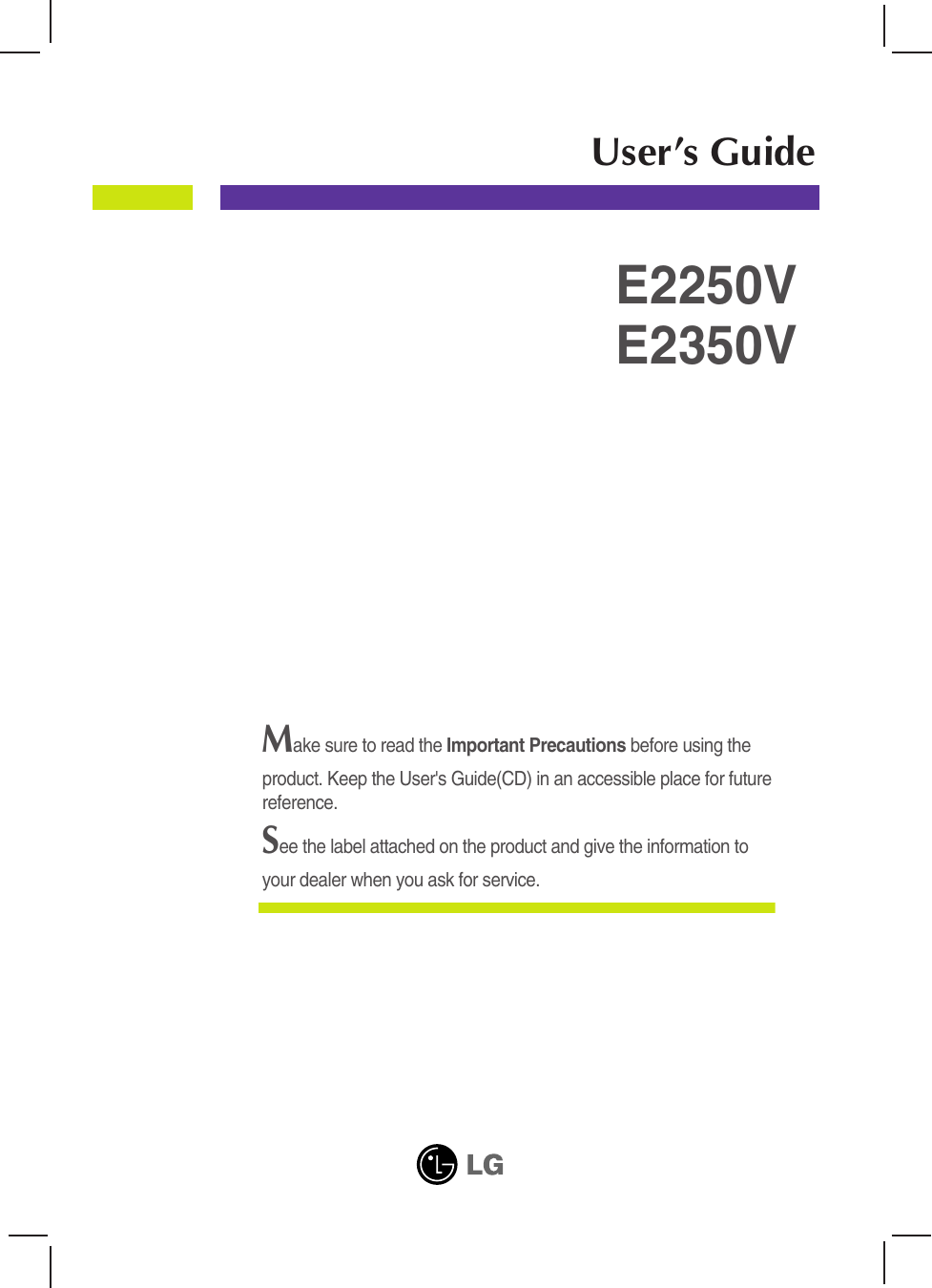 Lg Computer Monitor E2250V Users Manual Flatron E2250VR User Guide  Operating Instructions