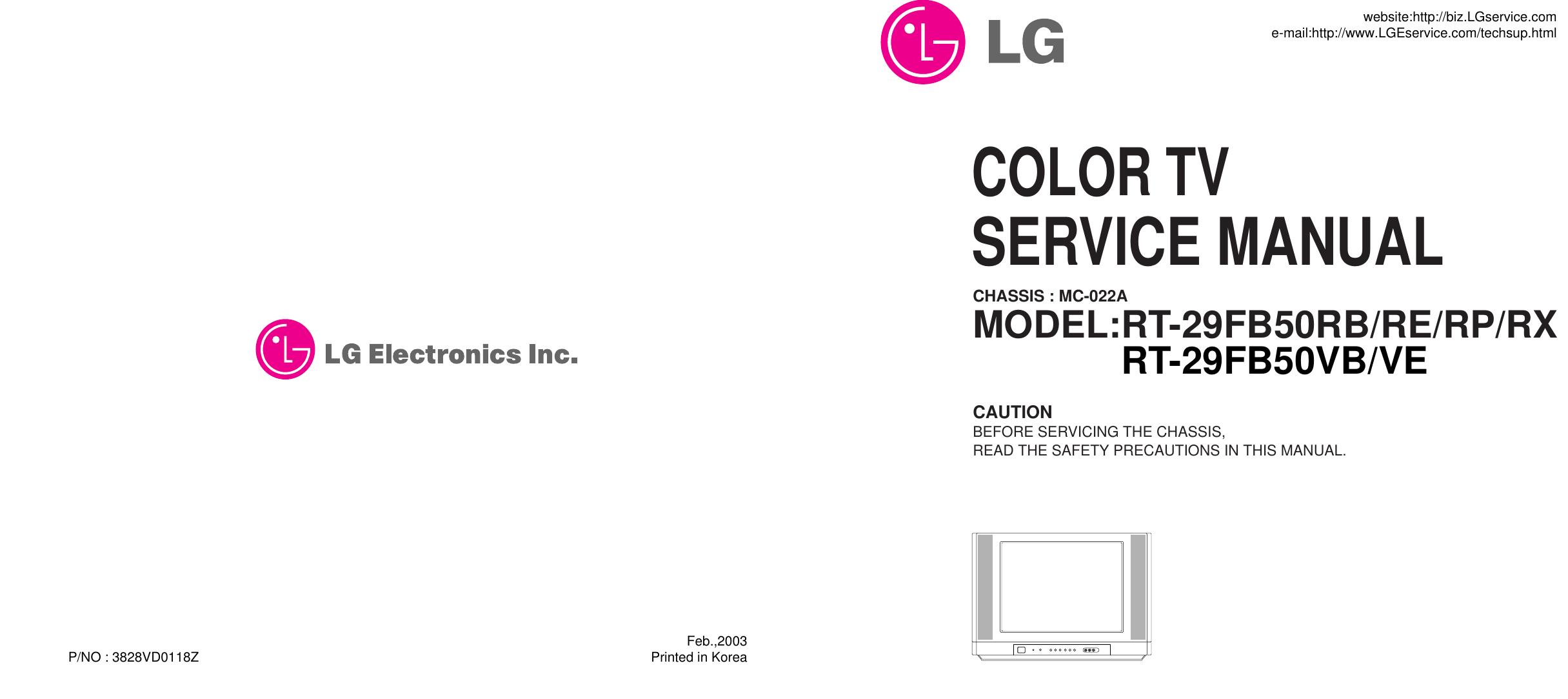 Lg Crt Television Rt 29fb50rb Users Manual 3828vd0118z B W Tv Circuit Diagram
