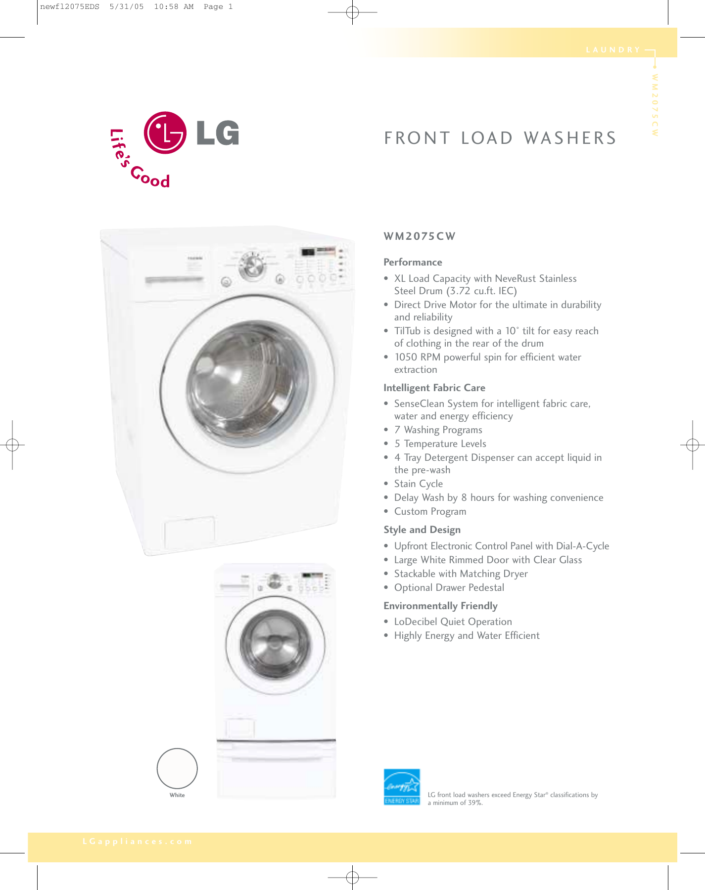 lg wm2075cw users manual rh usermanual wiki LG Front Load Washer Manual LG Tromm Washer Capacity
