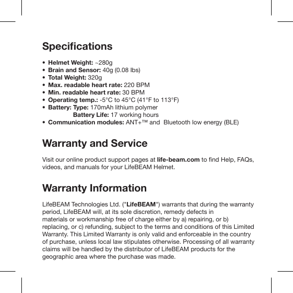LifeBEAM Technologies LBPD01-20 Cycling helmet User Manual