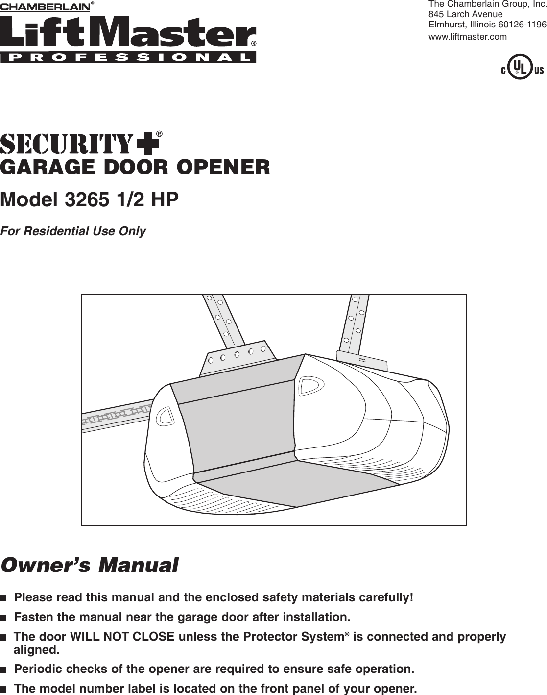 Liftmaster 3265 267 Owners Manual 114a3044fen Chamberlain Garage Door Wiring Diagram Additionally