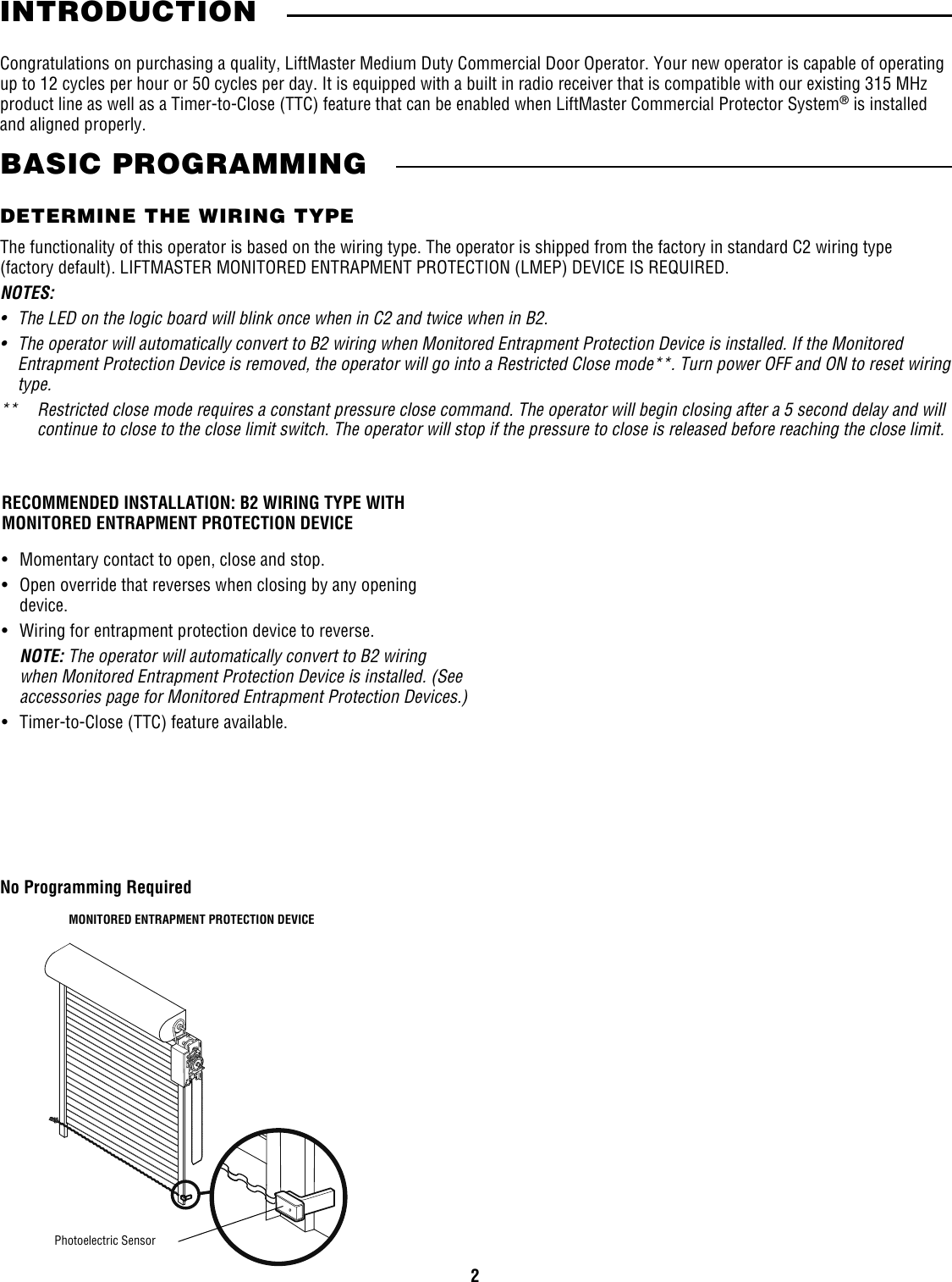 Liftmaster Mh Owners Manual Users Guide For Medium Dutty Commerical Commercial Door Wiring Page 2 Of 12