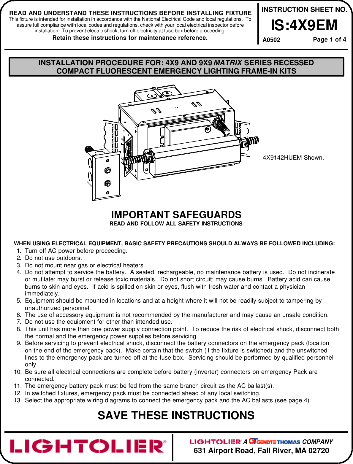 Lightolier 4X9Em Users Manual IS4X9E_PG1 on electrical box diagram, electrical power cable, 3 to 4 electrical box, electrical wiring box, electrical extension cord box, electrical fuses small to largest, electrical valve box, electrical safety signs, circuit breaker box, main electrical box, electrical panel box, electrical inductor box, electrical distribution box, wiring a 3 gang switch box, electrical power box, electrical switch box, solid state relay box, electrical chassis control module, electrical wiring details, electrical box cut out,