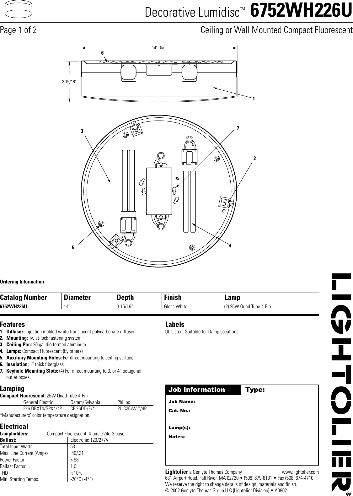 Lightolier Decorative Lumidisc 6752wh226u Users Manual 14 Watt Compact Fluorescent Electronic Ballast