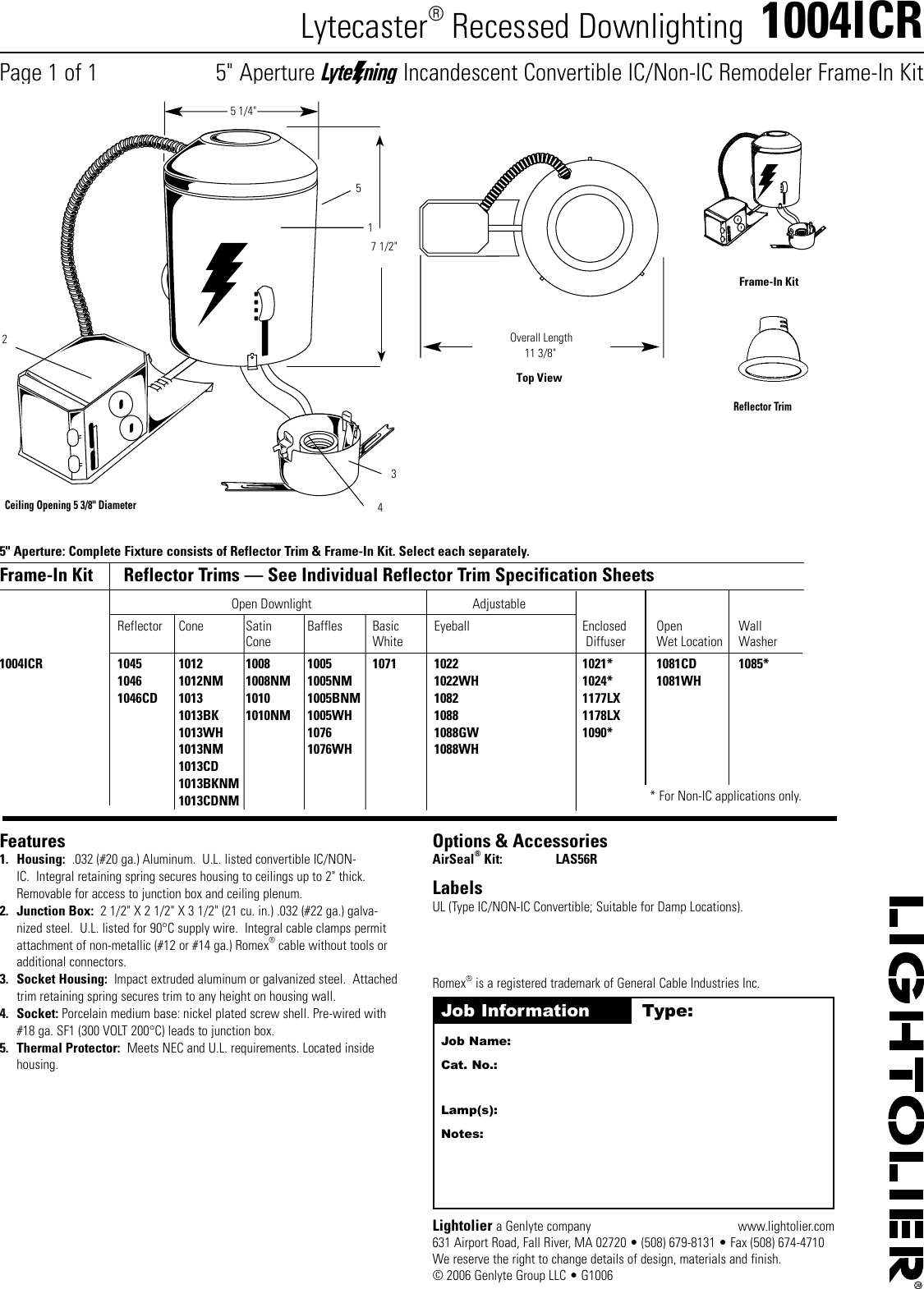Lightolier Lytecaster 1004icr Users Manual Wiring Diagram