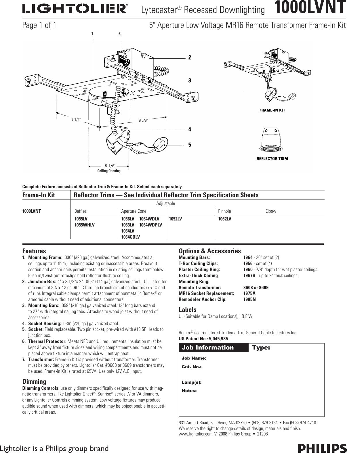 LightolierLytecasterRecessedDownlighting1000LvntUsersManual573167.823225906 User Guide Page 1 lightolier lytecaster recessed downlighting 1000lvnt users manual
