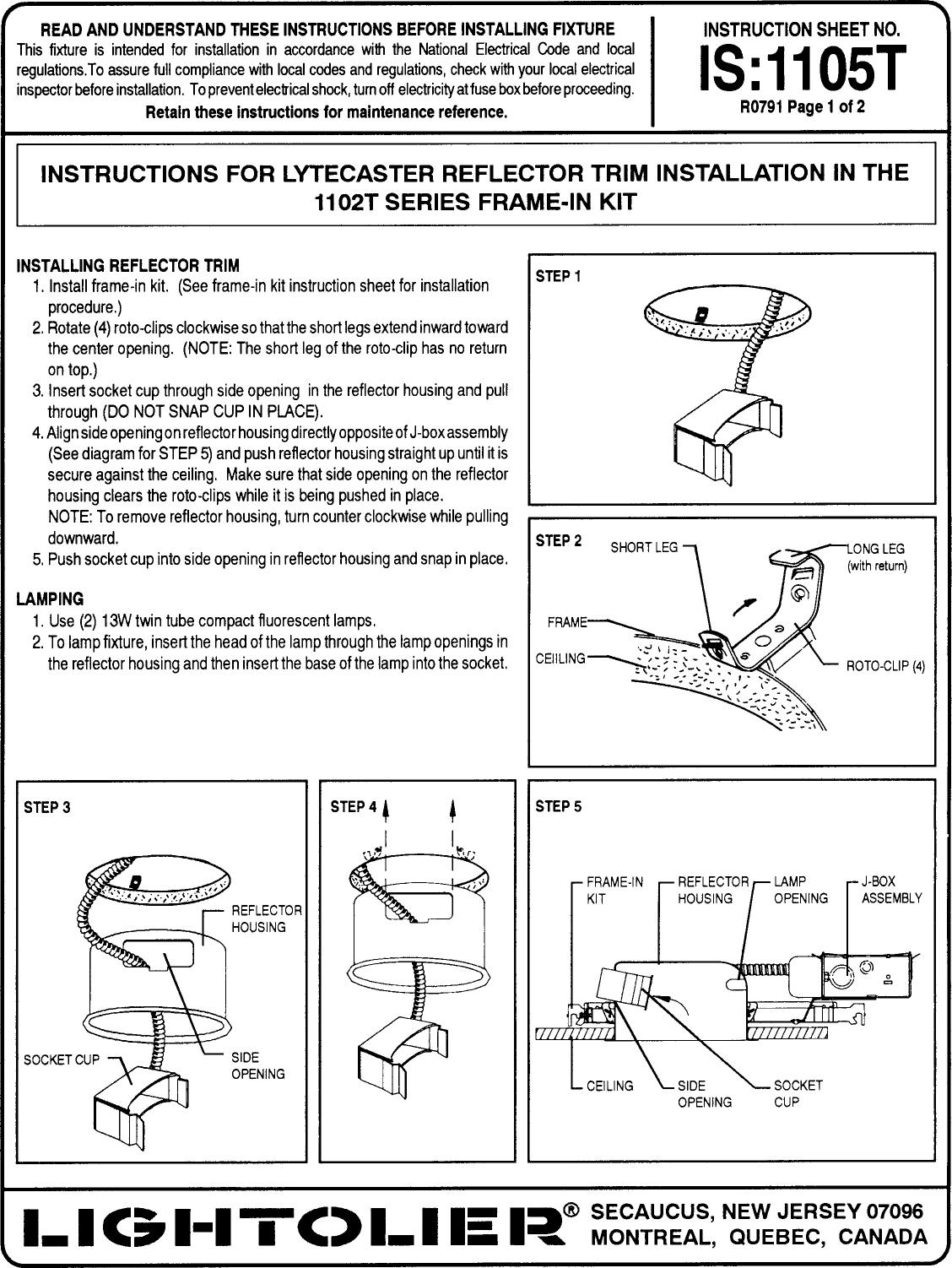 Lightolier Lytecaster Recessed Downlighting 1105t Users Manual Fuse Box Cartoon Downlights Instruction Sheets